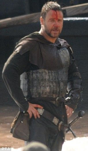 Russell Crowe on set of Robin Hood in Wales (picture by PA)