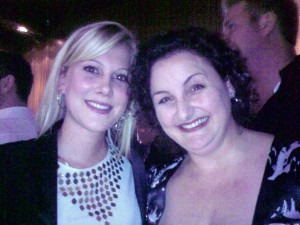 Masterchef winner Julie Goodwin (r) and fellow finalist Justine Schofield at the opening of Victor Churchill butcher shop in Sydney