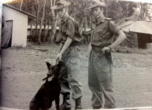 Caesar with his handler, Pete Haran (left) on duty in Vietnam (picture from Haran's book, Trackers)